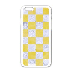 Square1 White Marble & Yellow Watercolor Apple Iphone 6/6s White Enamel Case by trendistuff