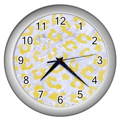 Skin5 White Marble & Yellow Watercolor Wall Clocks (silver)  by trendistuff