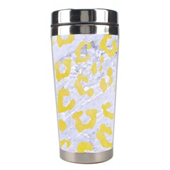 Skin5 White Marble & Yellow Watercolor Stainless Steel Travel Tumblers by trendistuff