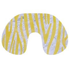 Skin4 White Marble & Yellow Watercolor Travel Neck Pillows by trendistuff