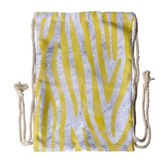 Skin4 White Marble & Yellow Watercolor Drawstring Bag (large) by trendistuff