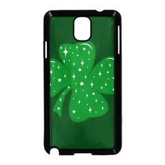 Sparkly Clover Samsung Galaxy Note 3 Neo Hardshell Case (black) by Valentinaart