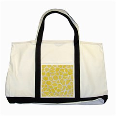 Skin1 White Marble & Yellow Watercolor (r) Two Tone Tote Bag by trendistuff