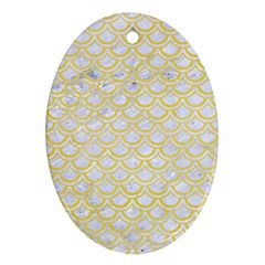 Scales2 White Marble & Yellow Watercolor (r)scales2 White Marble & Yellow Watercolor (r) Oval Ornament (two Sides) by trendistuff