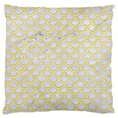 Scales2 White Marble & Yellow Watercolor (r)scales2 White Marble & Yellow Watercolor (r) Large Flano Cushion Case (two Sides) by trendistuff