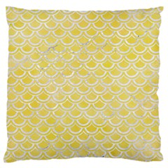 Scales2 White Marble & Yellow Watercolor Standard Flano Cushion Case (two Sides) by trendistuff