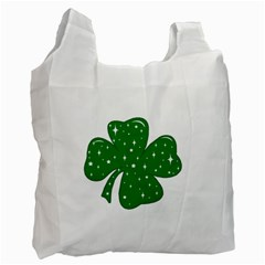 Sparkly Clover Recycle Bag (one Side) by Valentinaart