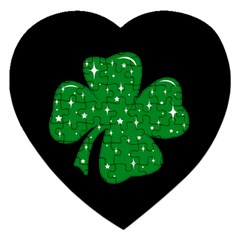 Sparkly Clover Jigsaw Puzzle (heart) by Valentinaart