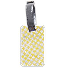 Houndstooth2 White Marble & Yellow Watercolor Luggage Tags (one Side)  by trendistuff