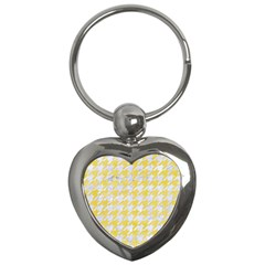 Houndstooth1 White Marble & Yellow Watercolor Key Chains (heart)  by trendistuff