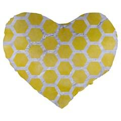 Hexagon2 White Marble & Yellow Watercolor Large 19  Premium Heart Shape Cushions by trendistuff