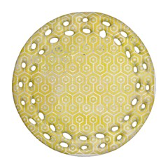 Hexagon1 White Marble & Yellow Watercolor Round Filigree Ornament (two Sides) by trendistuff