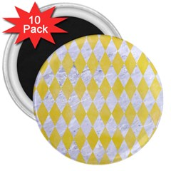Diamond1 White Marble & Yellow Watercolor 3  Magnets (10 Pack)  by trendistuff
