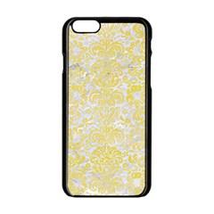 Damask2 White Marble & Yellow Watercolor (r) Apple Iphone 6/6s Black Enamel Case by trendistuff