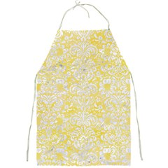 Damask2 White Marble & Yellow Watercolor Full Print Aprons by trendistuff