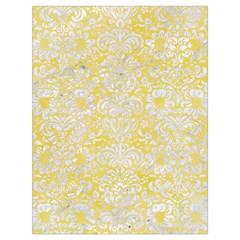 Damask2 White Marble & Yellow Watercolor Drawstring Bag (large) by trendistuff