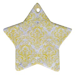 Damask1 White Marble & Yellow Watercolor (r) Star Ornament (two Sides) by trendistuff