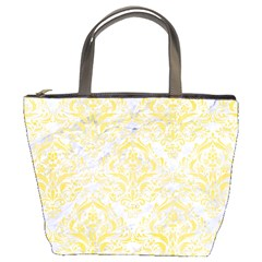 Damask1 White Marble & Yellow Watercolor (r) Bucket Bags by trendistuff