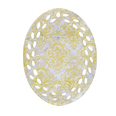 Damask1 White Marble & Yellow Watercolor (r) Ornament (oval Filigree) by trendistuff