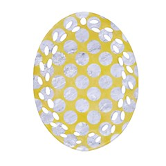 Circles2 White Marble & Yellow Watercolor Oval Filigree Ornament (two Sides) by trendistuff
