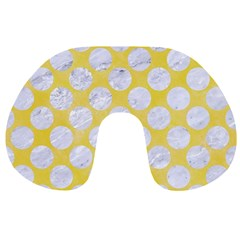 Circles2 White Marble & Yellow Watercolor Travel Neck Pillows by trendistuff
