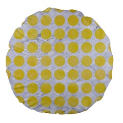 Circles1 White Marble & Yellow Watercolor (r) Large 18  Premium Flano Round Cushions by trendistuff