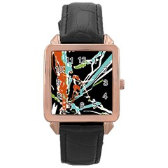 Multicolor Abstract Design Rose Gold Leather Watch  by dflcprints
