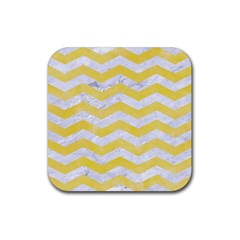 Chevron3 White Marble & Yellow Watercolor Rubber Square Coaster (4 Pack)  by trendistuff