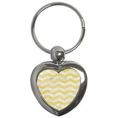 Chevron3 White Marble & Yellow Watercolor Key Chains (heart)  by trendistuff