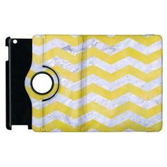 Chevron3 White Marble & Yellow Watercolor Apple Ipad 2 Flip 360 Case by trendistuff