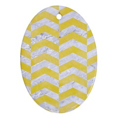 Chevron2 White Marble & Yellow Watercolor Ornament (oval) by trendistuff