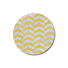 Chevron2 White Marble & Yellow Watercolor Rubber Round Coaster (4 Pack)  by trendistuff
