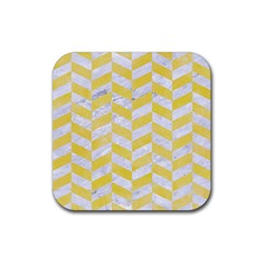 Chevron1 White Marble & Yellow Watercolor Rubber Square Coaster (4 Pack)  by trendistuff