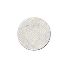 Brick2 White Marble & Yellow Watercolor (r) Golf Ball Marker (10 Pack) by trendistuff