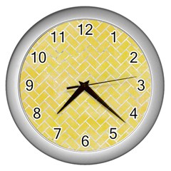 Brick2 White Marble & Yellow Watercolor Wall Clocks (silver)  by trendistuff