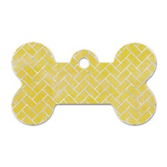 Brick2 White Marble & Yellow Watercolor Dog Tag Bone (two Sides) by trendistuff