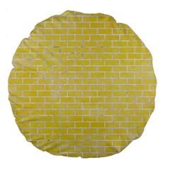 Brick1 White Marble & Yellow Watercolor Large 18  Premium Flano Round Cushions by trendistuff