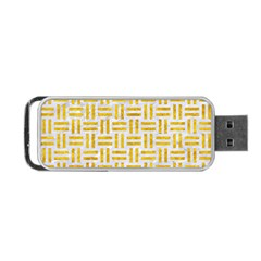 Woven1 White Marble & Yellow Marble (r) Portable Usb Flash (one Side) by trendistuff