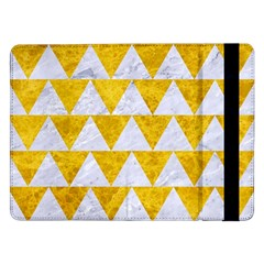 Triangle2 White Marble & Yellow Marble Samsung Galaxy Tab Pro 12 2  Flip Case by trendistuff