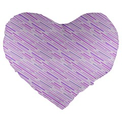 Silly Stripes Lilac Large 19  Premium Flano Heart Shape Cushions by snowwhitegirl