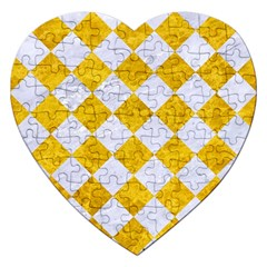 Square2 White Marble & Yellow Marble Jigsaw Puzzle (heart) by trendistuff