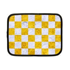 Square1 White Marble & Yellow Marble Netbook Case (small)  by trendistuff