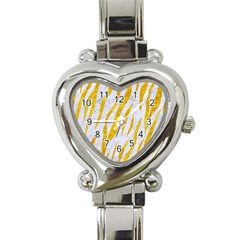 Skin3 White Marble & Yellow Marble (r) Heart Italian Charm Watch by trendistuff