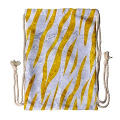 Skin3 White Marble & Yellow Marble (r) Drawstring Bag (large) by trendistuff