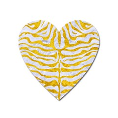 Skin2 White Marble & Yellow Marble (r) Heart Magnet by trendistuff