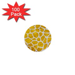 Skin1 White Marble & Yellow Marble (r) 1  Mini Buttons (100 Pack)  by trendistuff