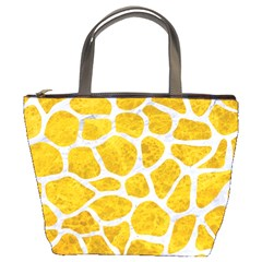 Skin1 White Marble & Yellow Marble (r) Bucket Bags by trendistuff