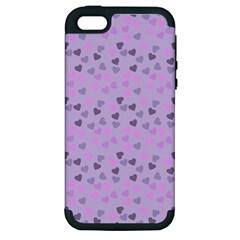 Heart Drops Violet Apple Iphone 5 Hardshell Case (pc+silicone) by snowwhitegirl