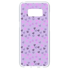 Heart Drops Violet Samsung Galaxy S8 White Seamless Case by snowwhitegirl