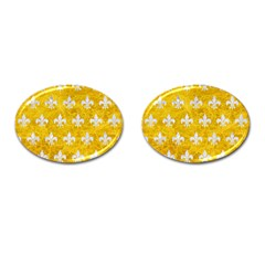 Royal1 White Marble & Yellow Marble (r) Cufflinks (oval) by trendistuff
